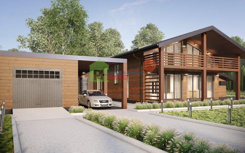 "Проект дома ""Бишоп"" вид спереди."
